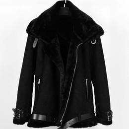 Cappotti di pelliccia russi online-Russo Maschio Vintage Faux Fur Bomber in pelle giacca di pelle scamosciata Cappotti Faux Fur Coat Uomini spessore inverno caldo velluto foderato Coats A317