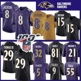 2019 marca jérsei 8 Lamar Jackson Baltimore Ravens Jersey 29 Earl Thomas 15 Marquise Brown 9 Justin Tucker 55 Terrell Suggs 22 Mark Ingram II 81 Hayden Hurst marca jérsei barato