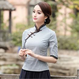 Coco jacke online-Sheng Coco Bluse Vintage-Qipao Hemd Chinese Style Top Nation Wind Spitze-lange Hülsen Lattice Cheongsam Jacke Camisa China Mujer