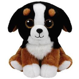 Cachorros brancos on-line-Ty Beanie Boos Recheado De Pelúcia Roscoe O Brinquedo De Cachorro Preto Branco 15cm
