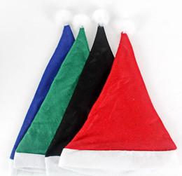 decorazioni natalizie di babbo natale Sconti Cappello di Natale di alta qualità Cappello da festa di Natale per adulti Cappello di peluche rosso verde nero blu per regalo di decorazione natalizia in costume di Babbo Natale