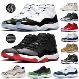 Sapatos de corrida mais baixos on-line-Top 11s Concord 45 Tênis de Grife 11 Criados Platinum Tint Low Midnight Navy Tênis de basquete para mulheres dos homens XI Running Trainers US 36-47