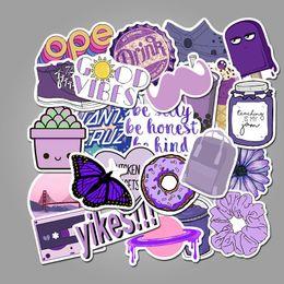 Cuaderno morado online-50pcs de la historieta púrpura linda VSCO fresca pequeña adhesivos de PVC resistente al agua pintada decorativo Maleta guitarra etiquetas engomadas de Notebook