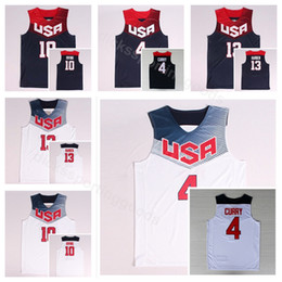 white navy uniforms Coupons - Dream Team Eleven 2014 US Basketball Jerseys James Harden 13 Kyrie Irving 10 4 Stephen Curry Navy Blue White America Uniform National
