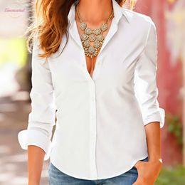 Camicetta femminile formale online-Camicetta signore lavoro Bianco Nero Turn Down Camicie donna pro maniche lunghe camicetta formale Womens Business Office