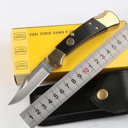 Couteau de poche en cuir en Ligne-Gros 110 112 AUTO couteau tactique pliant 440C lame de satin en laiton poignée en ébène EDC couteaux de poche avec couteau cadeau en cuir gaine