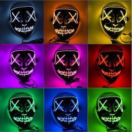 2019 baby jungen hysteresen Masken-Halloween-LED leuchten Partei-Schablonen Die Purge Wahljahr Große Lustige Masken Festival Cosplay Zubehör Glow In Dark DHL