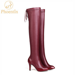 Ginocchio alto indietro pizzo stivali online-Phoentin rosso sopra il ginocchio stivali in pelle sottile tacchi alti 2019 vendita calda lungo stivali piattaforme con lacci indietro sexy scarpe FT585