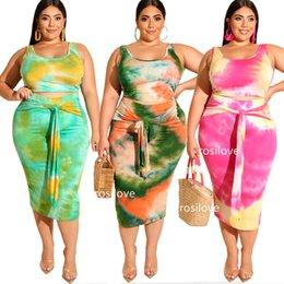 2019 novas saia tendências 2019 New verão de duas peças Vestido Plus Size saia Mulheres Vest tendência da moda apertada saia de impressão vestido de cintura confortável respirar livremente novas saia tendências barato
