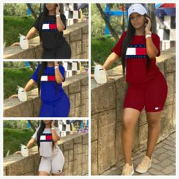 Diseñador de la marca Mujer Chándal Carta Imprimir 2 piezas Conjunto Trajes Verano Casual Sport Suit Top Shorts Sportswear PINK BLACK C11 desde fabricantes