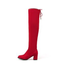2019 bottes rouges sexy pour les femmes Plus la taille 48 Stretch Tissu Femmes Bottes Sexy Casual Sur Le Genou Bottes Sexy Épais Chaussures À Talons Hauts Femme Noir Rouge promotion bottes rouges sexy pour les femmes