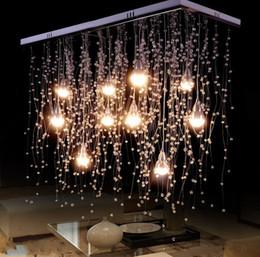 Comedor luz de techo de cristal online-Luces de techo de cristal Iluminación interior LED moderna G4 Led Meteor Iluminación de lluvia para lámparas de sala / comedor Decoración del hogar LLFA