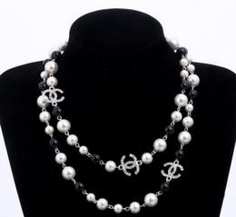 Argentina 2018 diseñador de la marca Cadena Suéter Largo Collar Colar Maxi Simulado Collar de Flores de Perlas Mujeres Joyería de Moda bijoux femme Suministro