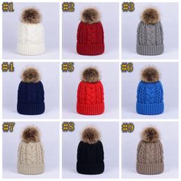2019 cappelli da procione per gli uomini Inverno spessore doppio strato colorato tappi di neve di lana a maglia Beanie Cappello Con Artificiale pelliccia di procione Pom Poms per gli uomini donne Hip Hop Cap ZZA1174 sconti cappelli da procione per gli uomini