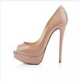 knöchelriemen geschlossene zehfersen Rabatt Marke rote untere Plattform Schuh Lackleder Peep Toe High Heel Hochzeit Braut Schuh Kleid Sandalen Größe 35-44