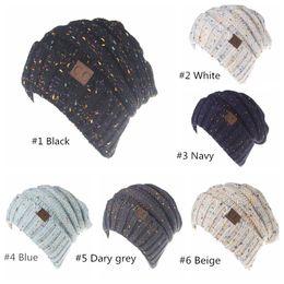 9b510e8dfc4 CC Beanies CC hats Knit Variegated Beanie Girls Women Winter Warm Hat Weave Beanies  Hat Casual Motley Beanies 6 Colors