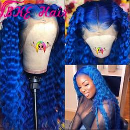 peruca preta azul escuro Desconto Dark Blue Water Wave sintética peruca dianteira do laço Glueless calor fibra resistente com fio natural para a mulher preta perucas onda profunda