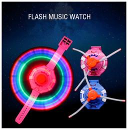 elétrico piscando música brinquedo Desconto Novas crianças brinquedos educativos LED colorido flash light watch toy 3 luzes música elétrica brinquedo pulso moinho de vento Pulseira