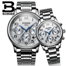 механические часы Скидка Швейцария часы Lover's BINGER Мужские механические и женские кварцевые наручные часы Sapphire водонепроницаемые B-603MW