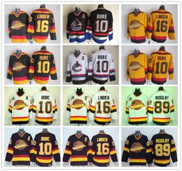 Vancouver-hockey-trikots online-Vintage CCM Vancouver Canucks Eishockey 10 Pavel Bure Jersey 89 Alexander Mogilny 16 Trevor Linden genähtes Schwarz Gelb Jersey
