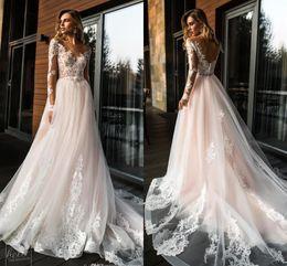 daa636d379 cheap bridal basque Promo Codes - 2019 Gorgeous Sheer Long Sleeves Lace  Wedding Dresses A Line