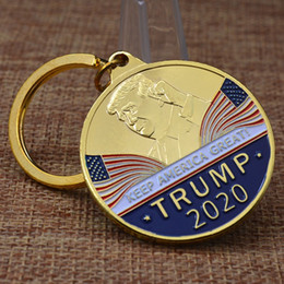 Nuevos diseños de llavero online-Nuevo diseño llavero conmemorativo de Donald Trump moneda recuerdo de metal llavero llavero desafío militar moneda al por mayor