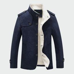 2019 jaqueta de lã forrada de lã Homens de inverno Casaco de Moda Forrado de Lã Grosso Casacos de Lã Quentes Casaco de Lã Mistura de Lã Masculino Jaquetas de Marca dos homens Roupas ML048 desconto jaqueta de lã forrada de lã