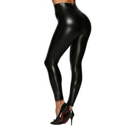 alta cintura de couro magro pernas Desconto Mulheres de Cintura Alta PU Calças De Couro Preto Engrossado Leggings Empurrar Para Cima do Quadril Novo Outono Calças Skinny Magro Legging Plus Size