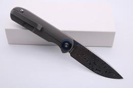 """faca de bolso sanrenmu Desconto Smke Facas Shamwari Frente Flipper faca dobrável 3,5"""" Damasco lâmina lisa Handle Titanium Survival tático facas Outdoort Pocket Knife"""