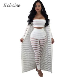 f49db401ed1 2018 Sexy Hollow Out 3 Pieces Set Womens Strapless Crop Top Sheer Stripe  Mesh Pants Long Cardigan Set Plus Size Club Outfits