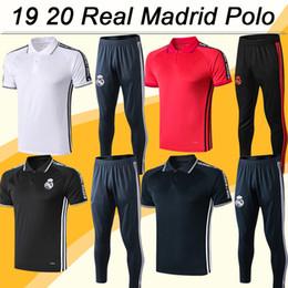 pantaloni bianchi rossi Sconti 19 20 Real Madrid Polo Calcio Camicie Kit Nuovo MARIANO KROOS BENZEMA MODRIC BALE MARCELO Rosso Nero Grigio Calcio maglie pantaloni Top