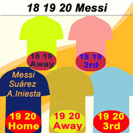 Camisetas de jersey pantalones cortos online-19 20 barcelona MESSI GRIEZMANN Home Away Tercera camiseta de fútbol para hombre 18 SUAREZ PIQUE COUTINHO DEMBELE Camiseta de futbol RAKITIC F. DE JONG Uniformes cortos