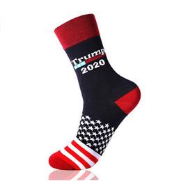 Calzini usa online-Calze Trump 2020 Unisex Uomo Donna Calze a maglia Calza a tubo centrale Elezioni presidenziali USA Stampa Calze lunghe a metà casa Regali per feste da giardino WX9-1449