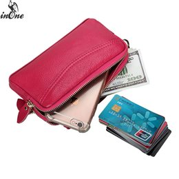 INONE Cards Cash Wristlet Big Wallet for Women Men 2019 Cowhide Genuine Leather Unisex Coin Clutch Pouch Cell Phone Bag Purse от
