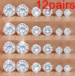 2019 zircão de jóias de cristal coreano 19 estilos Zircão Coreano Brincos Do Parafuso Prisioneiro 12 Pairs Setting Crystal Brincos Do Parafuso Prisioneiro Conjunto para As Mulheres de Aço Inoxidável Jóias HZSEH001 zircão de jóias de cristal coreano barato