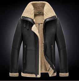 мужская летняя шуба Скидка 2019 Зимняя мужская мода старинные цвета ягненка овечий мех овчина кожа поверхность овечья шерсть подкладка байкер куртка пальто