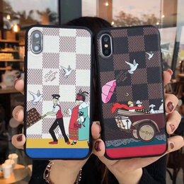 grandes teléfonos samsung Rebajas Funda de teléfono de marca grande para iPhone X XR Xs max 6 6plus 7 7plus 8 8 Plus Funda de cuero TPU 2in1 para Samsung note9 s8 s9 s10 plus