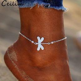 2019 cavigliere di cristallo dei piedini Alla moda sandali a piedi nudi braccialetto alla caviglia d'argento Beach Lady Dragonfly cristallo cavigliere gioielli piede estate spiaggia gioielli regali cavigliere di cristallo dei piedini economici