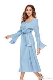Argentina Vestido de mujer Camisa de verano vestido de manga larga de Bell Elegante dama de impresión con cuello en V de encaje Dividir Falda de mezclilla vestido Falda de mezclilla Vestidos sueltos ocasionales Suministro