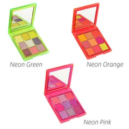 Cores de néon rosa on-line-Marca NEON paletas de sombra de olho 9 cores sombra de olhos de ROSA de VERDE ORANO VERDE Paletas de Sombra Shimmer Matte Sombra de Olho DHL frete grátis