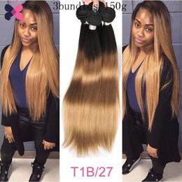 Brasilianisches Echthaar Gerade 3 Bundles / 150g Blonde Ombre Brasilianische Haarwebart Bundles 1B / 27 Haarbündel von Fabrikanten
