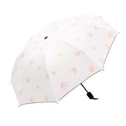 cuchillos de apoyo Rebajas 2019 romántica cereza Nuevo Resistente al viento paraguas plegable mujeres de los hombres de lujo florece grande a prueba de viento Paraguas Negro Recubrimiento 8Ribs Parasol