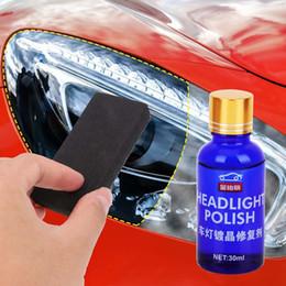 Kit scratch online-Kit de reparación de la linterna del coche 30ML auto de la herramienta de Restauración La oxidación de visión trasera de cristal líquido polaco faros Pulido anti-arañazos Revestimiento del Escudo