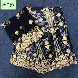 tela bordada de terciopelo rojo Rebajas Negro africano guinea bazin riche tela lavabo riche getzner con perlas de encaje nigeriano tela para boda 5 + 2 yardas / lote