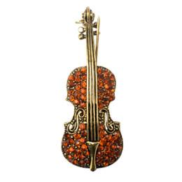Violons en cristal en Ligne-Broche en forme de violon de style vintage en cristal brun avec base en métal