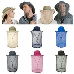 2019 cappello a rete Zanzariera da esterno con rete nascosta bug di protezione api per escursionismo pesca protezione per il viso cappello da sole anti zanzara MMA2279 sconti cappello a rete
