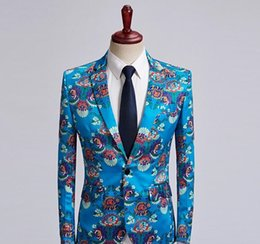 2020 costume de fête de mariage bleu Mens Blue Sky Luxury Blazer 2018 Brand New Paisley Floral bronzante Costume Blazer Hommes Festival Party Blazers mariage Hombre costume de fête de mariage bleu pas cher