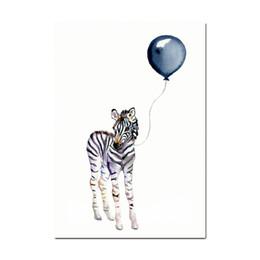2020 zebra animal da lona de arte Funda um balão do girafa Animais Zebra Posters Canvas Art Wall pintura Art Nursery decorativa Imagem Nordic Estilo Crianças Deco desconto zebra animal da lona de arte