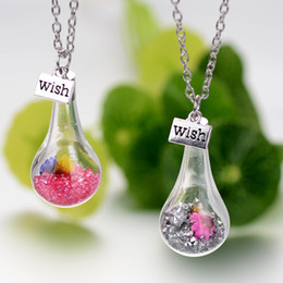 deseando flor Rebajas Deseo botella de moda collar de cristal flor seca botella de deriva colgante collar diseñador de joyería de moda para mujeres regalo 161536