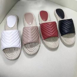 Doubles cordes en Ligne-Nouveau Femmes Sandale en cuir espadrille Chaussures de plate-forme de marque Lady Straw Cord Un pantoufle de luxe avec un double grand modèle